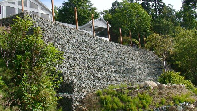 Gabion basket slope stability systems